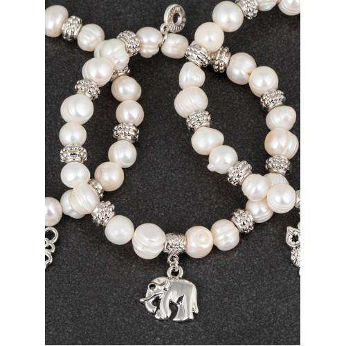 Apyrankė drambliukas pasidabruota su natūraliais perlais