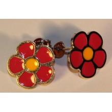 Auskarai gėlytės raudonos