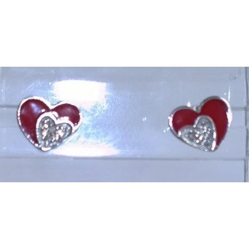 Auskarai sidabriniai širdelės raudonos su akutėm