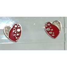 Auskarai sidabriniai širdelės raudonos su akutėm baltom