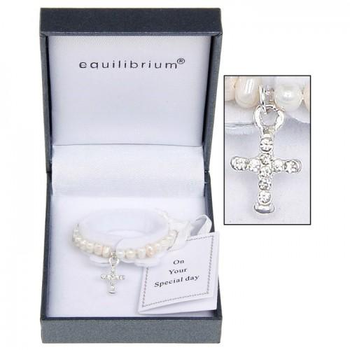 Apyrankė Kryželis pasidabruota su natūraliais baltais perlais
