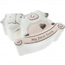 Dėžutė pasidabruota pirmam dantukui Arkliukas rožinis