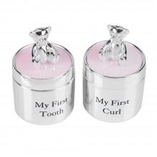 Pasidabruotos dėžutės: pirmam dantukui,sruogelei su meškiuku  rožinė 5*3*3 cm